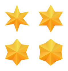 set of four golden six point stars vector image