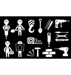 set white construction industry objects vector image vector image