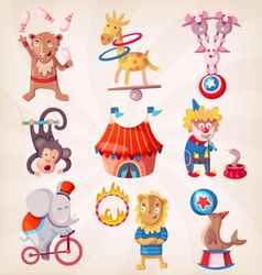 Circus animals doing tricks vector image vector image