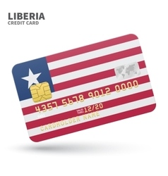 Credit card with Liberia flag background for bank vector image