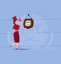 female chef cook happy smiling cartoon chief in vector image