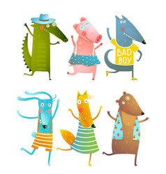 funny baby dancing animals collection vector image vector image