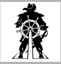 Pirate at the helm - vector