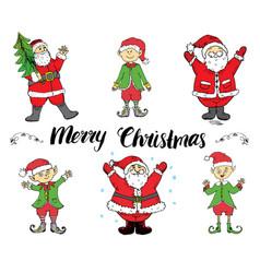 santa claus and elfs hand drawn set merry vector image vector image