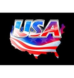 USA American flag on black background vector image