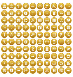 100 pointers icons set gold vector