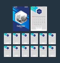 2019 calendar desk calendar modern design vector image