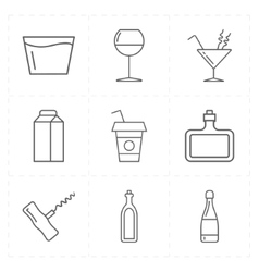 9 modern flat bar icons vector image