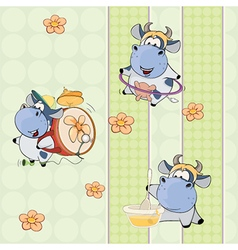A background with cows vector image
