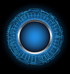 Abstract technology digital circle with button vector