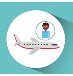 Afroamerican man traveler airplane vector