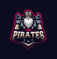 awesome pirates logo template vector image