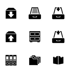 black archive icon set vector image