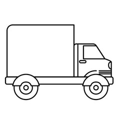 Black silhouette of truck with wagon vector