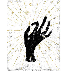 black witchs hand with light rays and symbols vector image