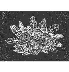 Blackwork tattoo rose and feathers bouquet vector