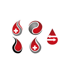 blood with cross health set vector image