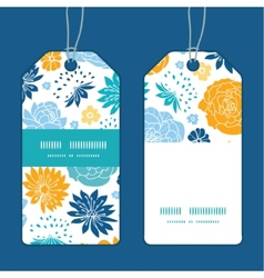 Blue and yellow flowersilhouettes vertical stripe vector