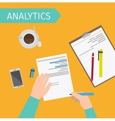 Business analytics top view vector