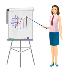 Business women near flip chart with pointer promo vector