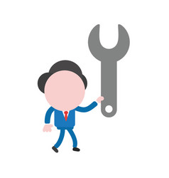 Businessman walking and holding spanner vector