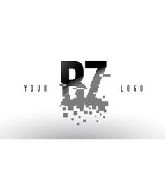 Bz b z pixel letter logo with digital shattered vector