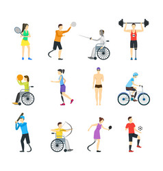 cartoon disabled sports characters icon set vector image