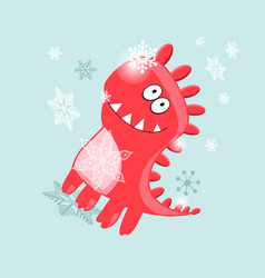 christmas card cheerful dinosaur vector image