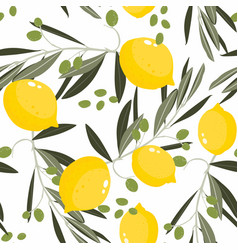 citrus floral seamless pattern with lemon vector image