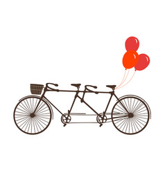 Classic romantic tandem bicycle with balloons vector