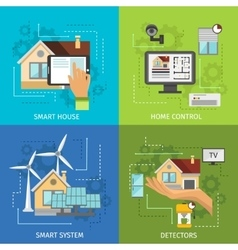 Colored Smart House Icon Set vector image