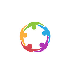 colorful abstract people circle logo vector image