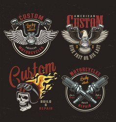 colorful motorcycle emblems set vector image