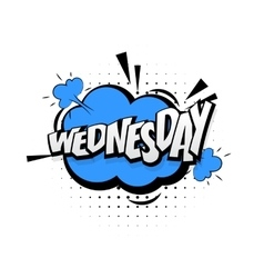 Comic blue effects pop art word wednesday vector image