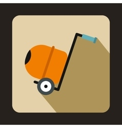 Concrete mixer icon in flat style vector