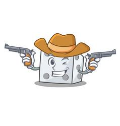 Cowboy dice character cartoon style vector
