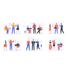 coworking business team people working together vector image