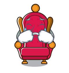 Crying king throne mascot cartoon vector
