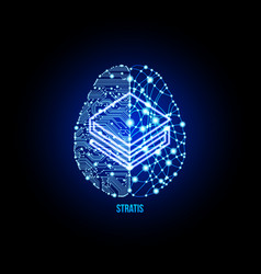 crypto currency stratis on brain background vector image