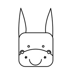 Cute donkey animal head expression vector