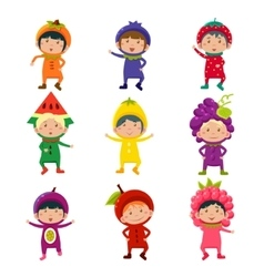 Cute Kids in Fruit and Berry Costumes vector image