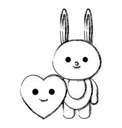 Cute rabbit and heart kawaii characters vector
