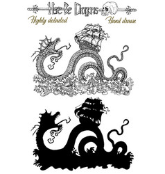 design set with scary leviathan and ship vector image