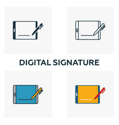 digital signature icon set four elements in vector image