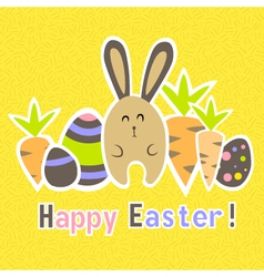 Easter colorful yellow card template vector