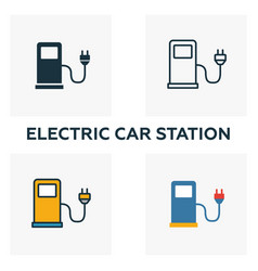 electric car station outline icon thin style vector image
