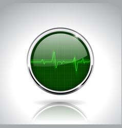 Electrocardiogram sign green round 3d icon vector