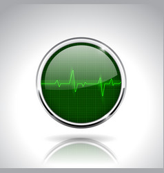 Electrocardiogram sign green round 3d icon with vector
