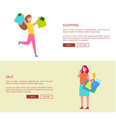 females with shopping bags vector image