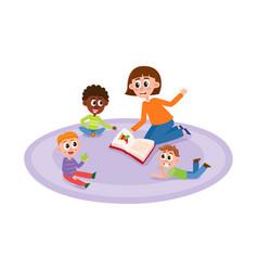 Flat cartoon children sitting around woman vector